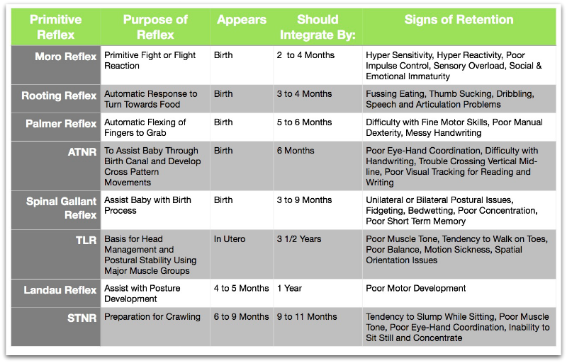 Chart of Primitive Reflexes and Associated Developmental Delays