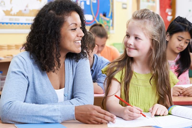 Lärare och elev tecknad